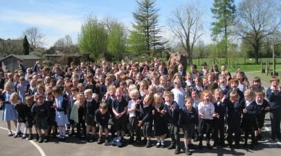 Mille the T-Rex visits AK School